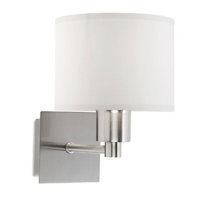 Satin Nickel Square Wall Light with White Shade